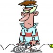 Vector de stock : Cartoon Sore Loser Tennis Player