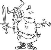 Cartoon Viking Singing a Song — Stock Vector