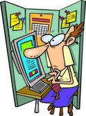 Cartoon Man in Cubicle — Stock Vector