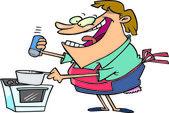 Mulher dos desenhos animados de cozinha — Vetor de Stock
