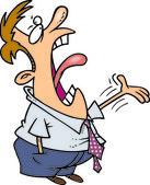 Cartoon Man Loudly Complaining — Stock Vector