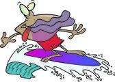 Cartoon Clam Surfer — Stock Vector