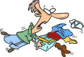 Cartoon Man Laundry — Stock Vector