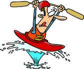 Cartoon Man in Kayak — Stock Vector