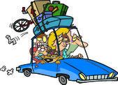 Cartoon Family Road Trip — Stock Vector