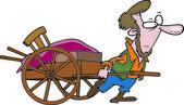 Cartoon Amish Man Pulling Cart — Stock Vector