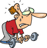 Cartoon svag tyngdlyftare — Stockvektor