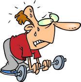 Cartoon zwakke gewichtheffer — Stockvector