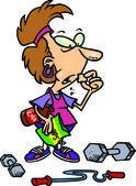 Fumetto donna dieta ed esercizio fisico — Vettoriale Stock