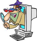 Cartoon Computer Spyware — Stock Vector