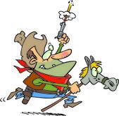 Cartoon Cowboy Riding a Hobby Horse — Stock Vector