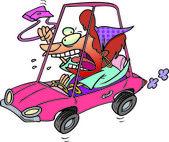 Cartoon Road Rage Lady — Stock Vector