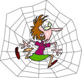 Cartoon Woman Trapped in a Spiderweb — Stock Vector
