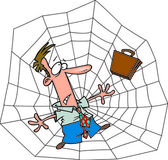 Cartoon Businessman Trapped in a Spiderweb — Stock Vector