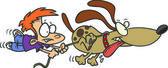 Cartoon Boy Walking the Dog — Stock Vector