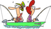 Cartoon Couple Fishing — Stock Vector