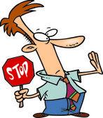 Cartoon Business Stop Sign — Stock Vector