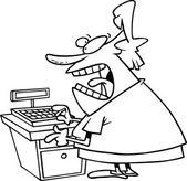 Cartoon Angry Cashier — Stock Vector