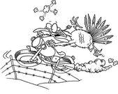 Cartoon Turkey Great Escape — Stock Vector