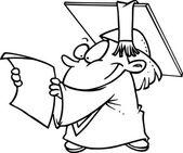 Cartoon Girl Graduate — Stock Vector