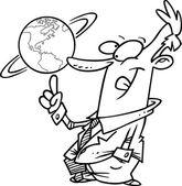 Cartoon Global Businessman — Stock Vector