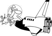 Cartoon Space Shuttle Mechanic — Cтоковый вектор