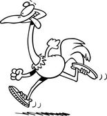 Cartoon Ostrich Jogging — Stock Vector