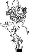 Cartoon Woman Wearing Thinking Cap — Stockvektor