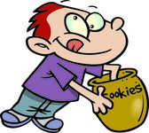 Cartoon Boy with Cookie Jar — Stock Vector