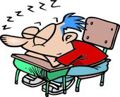 Cartoon Classroom Sleeper — Stock Vector
