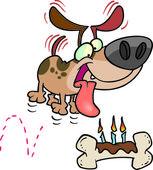 Cartoon Dog Birthday Bone — Stock Vector