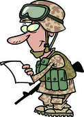 Cartoon Soldier Reading Letter from Home — Stock Vector