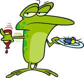 Cartoon Frog Gourmet — Stock Vector
