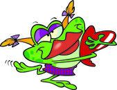 Amor de rana de dibujos animados — Vector de stock