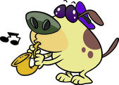Cartoon Dog Playing Saxophone — Wektor stockowy