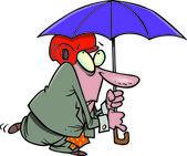 Cartoon Man with Umbrella — Stock Vector