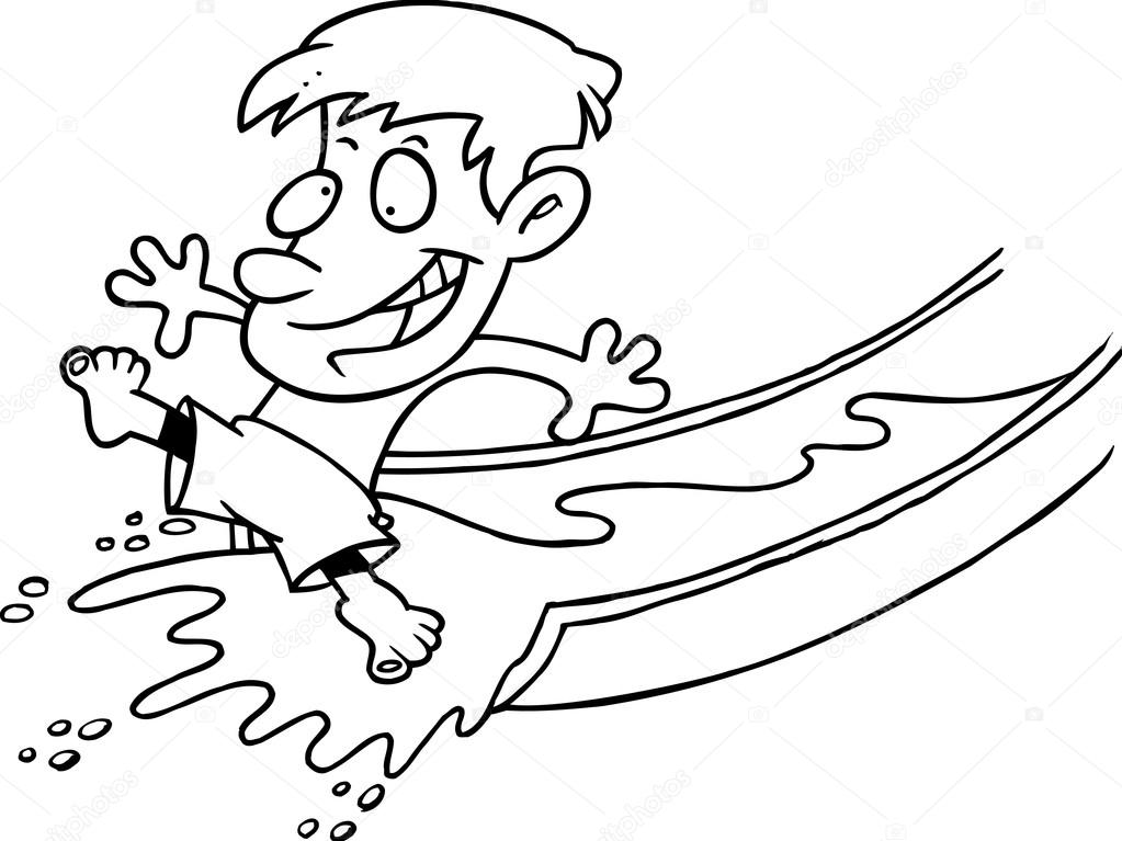 Toboggan aquatique de dessin anim image vectorielle - Dessin de toboggan ...