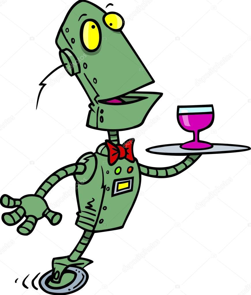 Maggiordomo robot dei cartoni animati — vettoriali stock