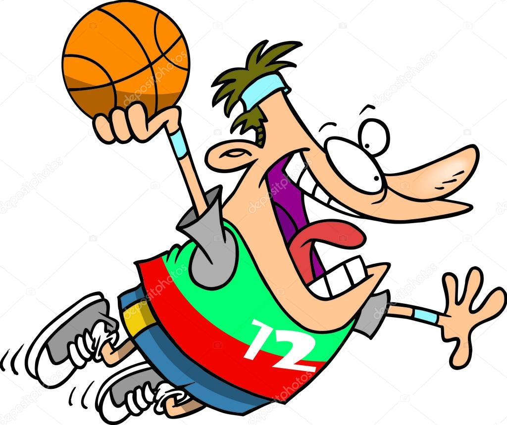 卡通篮球扣篮 — 矢量图片作者