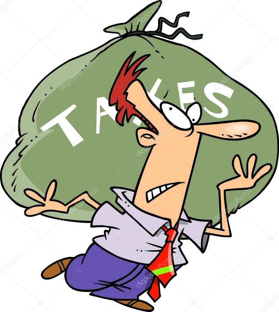 Cartoon Man Carrying Tax Burden — Stock Vector #13948735