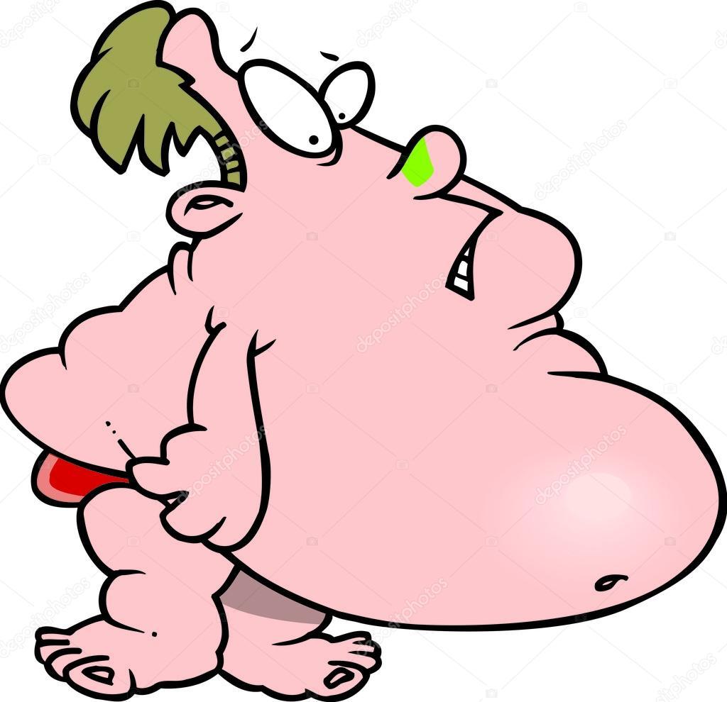 Uomo grasso cartone animato in costume da bagno