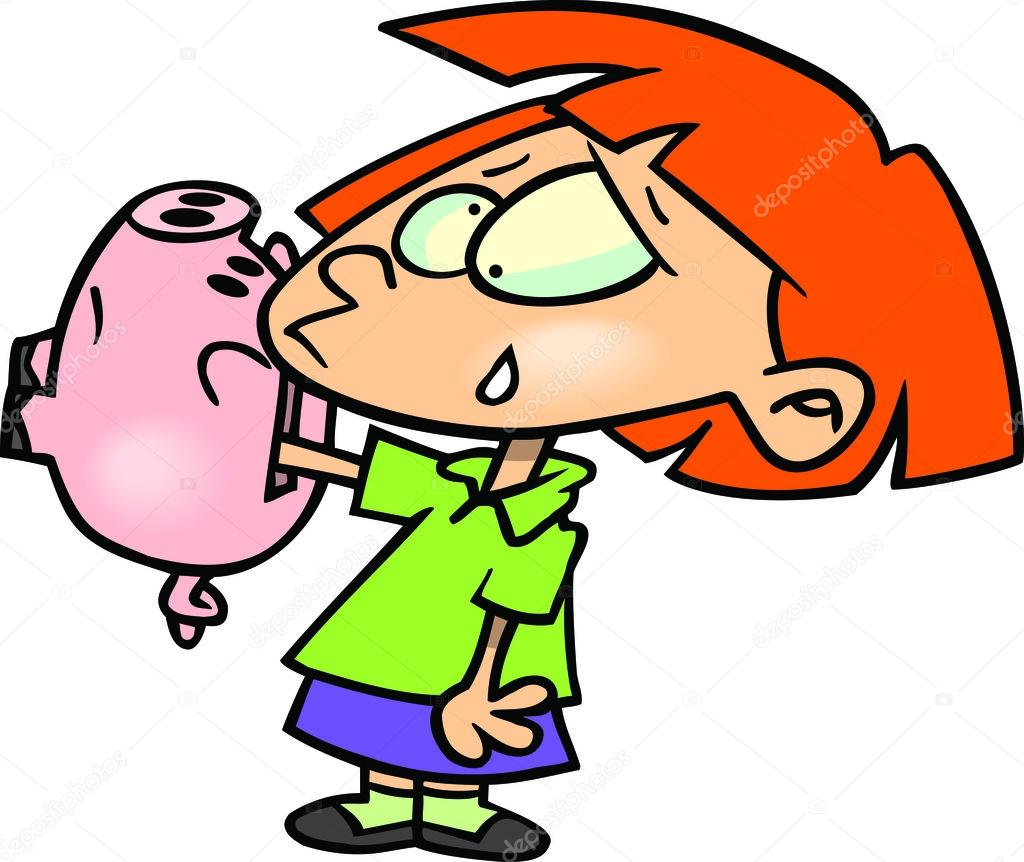 Cartoon Girl with Piggy Bank  Stock Vector #13948759