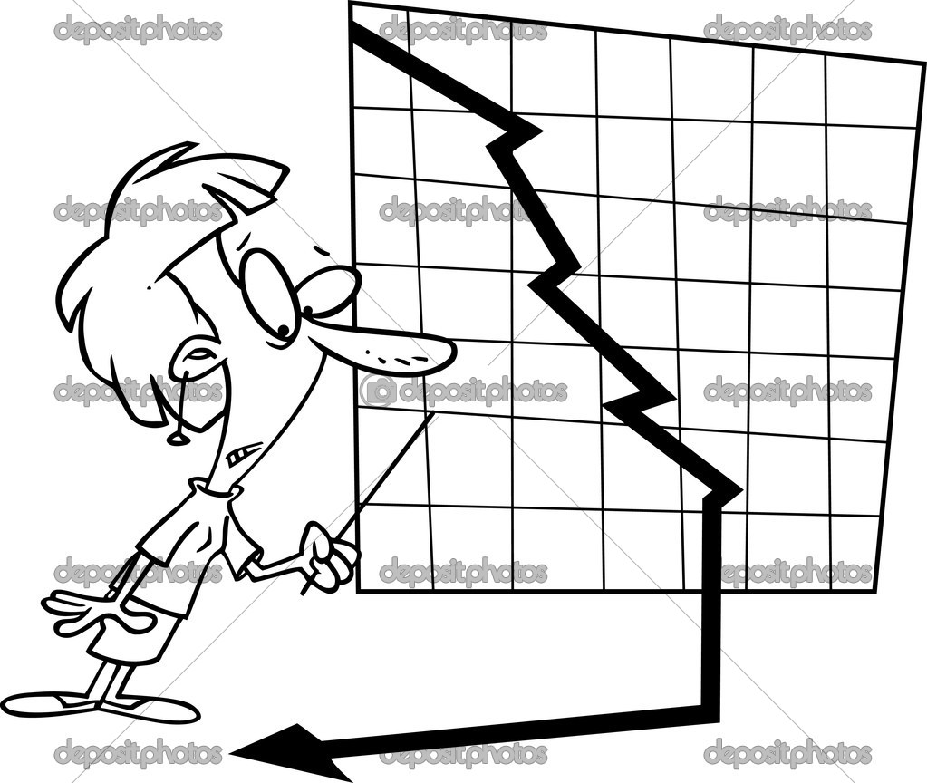 Cartoon Falling Profit Chart   Stock Vector #13948768