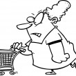 Cartoon Intense Shopper — Stockvectorbeeld