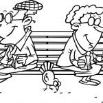 dibujos animados alimentar palomas — Vector de stock
