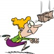 Cartoon woman running to catch a falling fragile package - Stock Vector