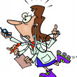 Cartoon Busy Doctor — Vecteur #13951112