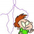 Stock Vector: Cartoon Boy Afraid of Lightning