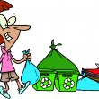 Cartoon Woman Recycling - Imagen vectorial