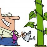 Cartoon Beanstalk Watering Can — Stock Vector #13951417